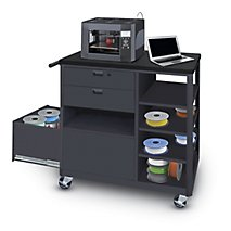 Vizion® Steel 3D Printer Cart with Two Storage Drawers Four Side Shelves