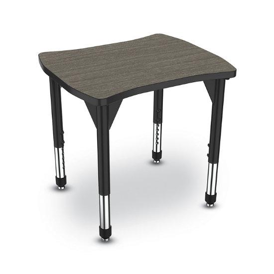 28 Wx24 D Medallion Dog Bone Desk, Dog Leg Desk