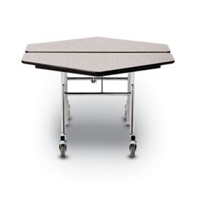 Concord Mdf Core Mobile Folding Table 48 W Hexagon Anti Bacterial Edge Chrome Frame