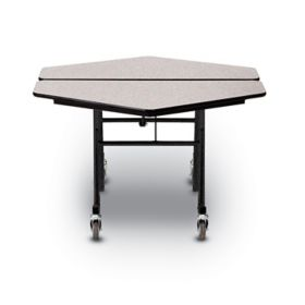Hexagon Concord Mobile Folding Table Mdf Core Anti Bacterial Edge