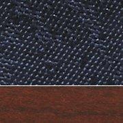 Blue Fabric/Mahogany Wood Finish