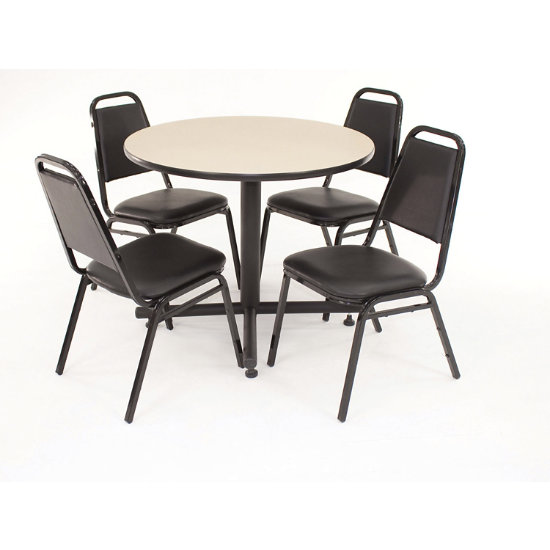 Kobe Lunchroom Table Round With 4 Restaurant Chairs Rekv R K Log