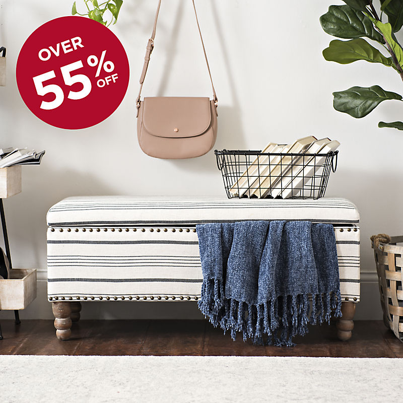 Over 55% Off Striped Storage Bench Now $89.99