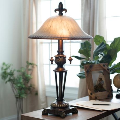 Prescott bronze glass table lamp kirklands aloadofball Image collections