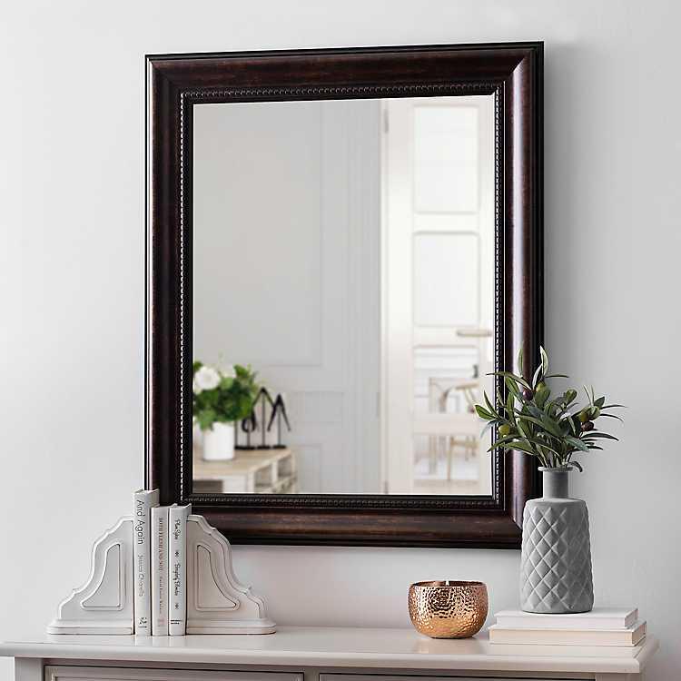 Beaded Bronze Framed Mirror 29x35 In