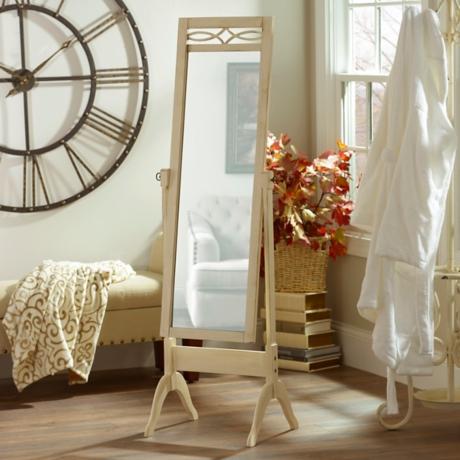 Antique White Cheval Floor Mirror | Kirklands