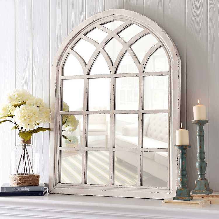 Distressed Cream Sadie Arch Mirror