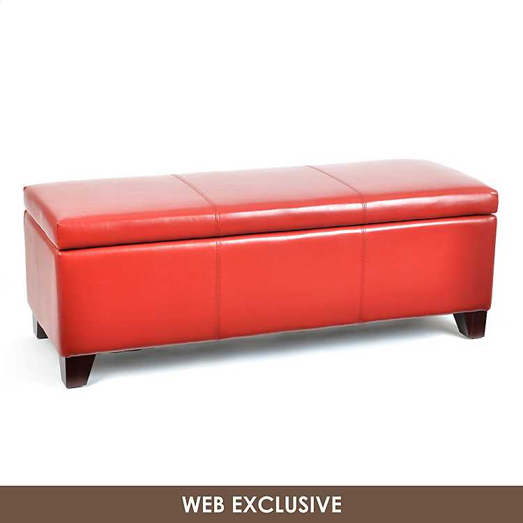 Super Red Leather Luisa Ottoman Pabps2019 Chair Design Images Pabps2019Com
