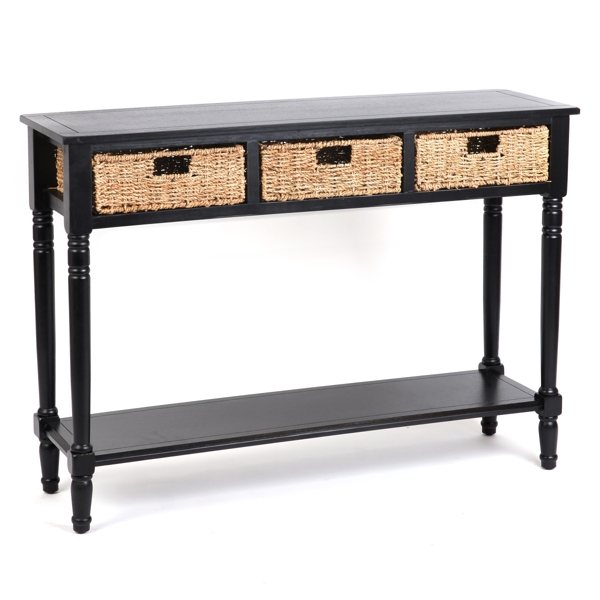 Black Storage Basket Console Table Kirklands