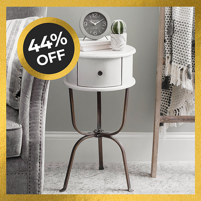 44% off Distressed White Accent Table Now $50
