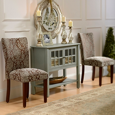 Dining Chairs In Living Room.  Brown Damask Parsons Chair Kirklands