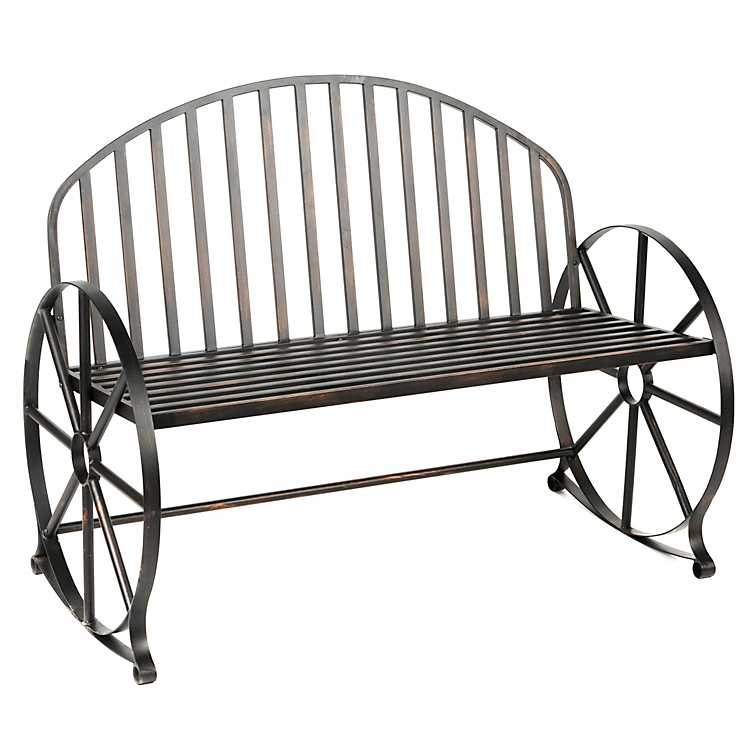 Prime Wagon Wheel Metal Bench Evergreenethics Interior Chair Design Evergreenethicsorg