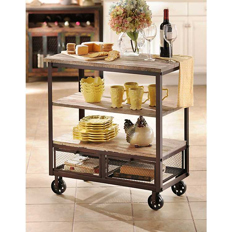 rustic kitchen islands and carts rustic 3 shelf rolling kitchen cart kirklands 25604