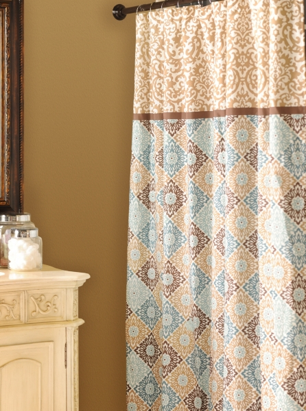 blue and tan shower curtain.  Tan Blue Medallion Print Shower Curtain Kirklands