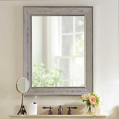Silver Grid Framed Wall Mirror
