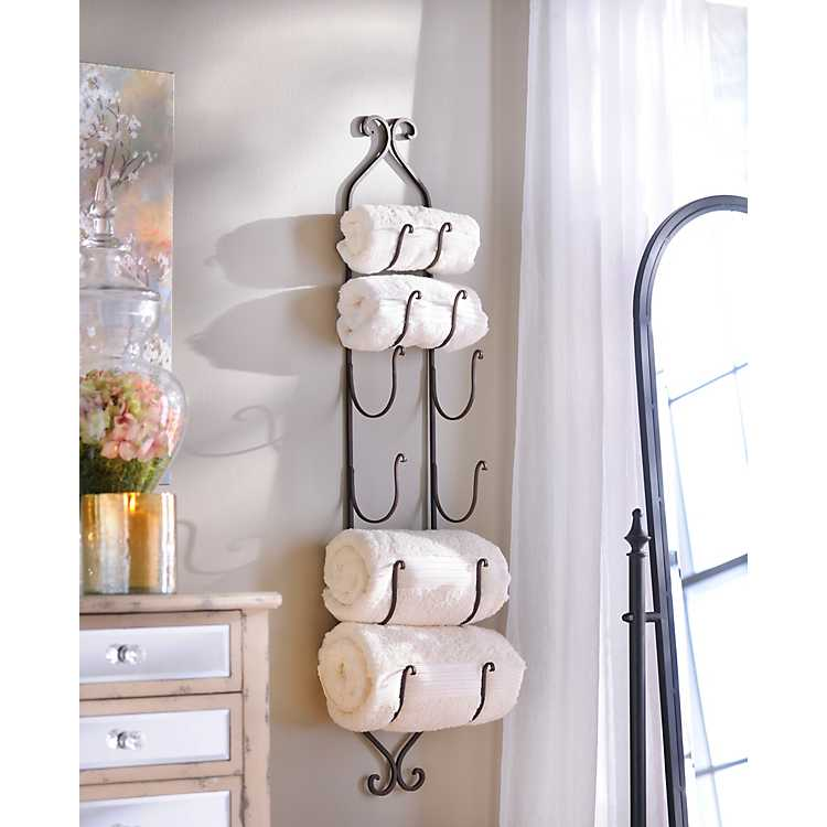 Wall Mount Wine Towel Rack Holder Black Metal Bottle Storage Hanging Bath Decor