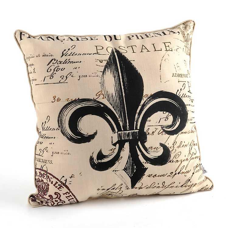 Faux Linen Fleur De Lis Throw Pillow