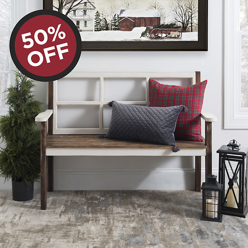 50% OFF Distressed Windowpane Bench Now $139.99