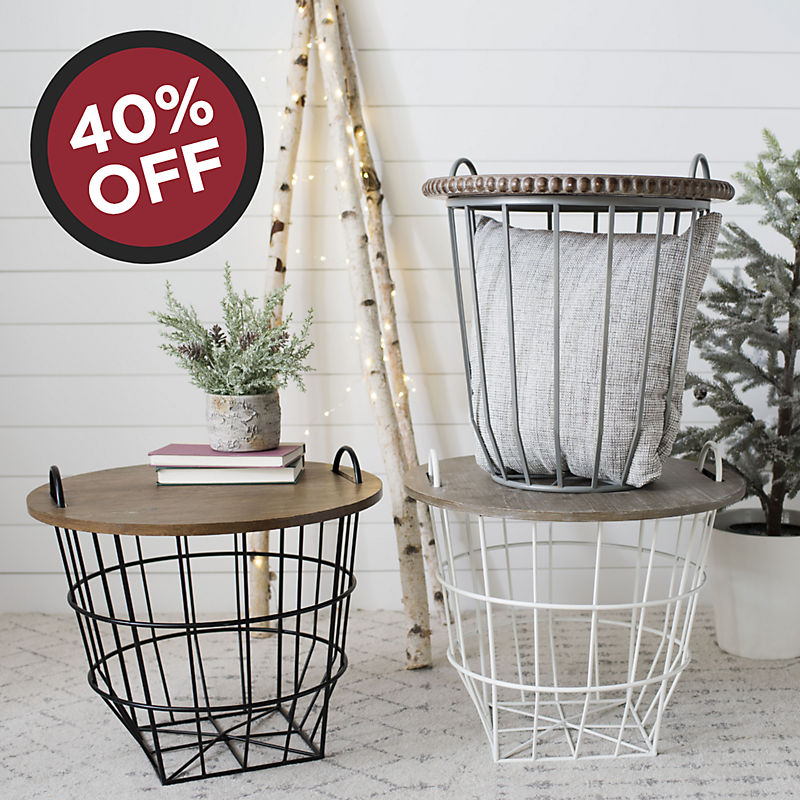 40% off Wire Basket Tables Now $59.99