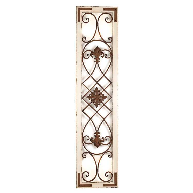 Cream Wood Metal Wall Panel