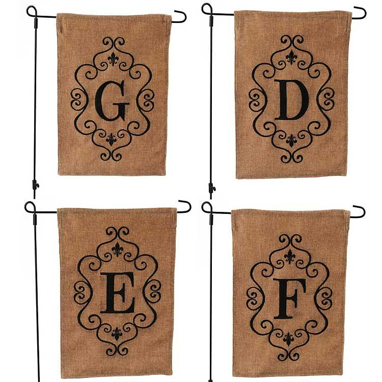 Burlap Garden Flag Personalize Last Name Initial Canvas Mini Flag
