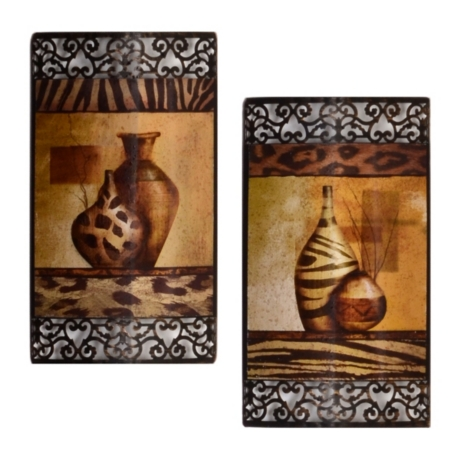 safari vase metal wall art set of kirklands