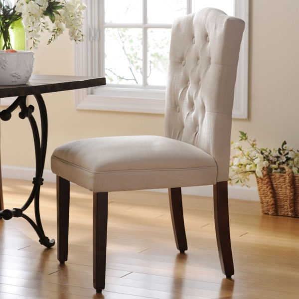Tufted Ivory Linen Parsons Chair