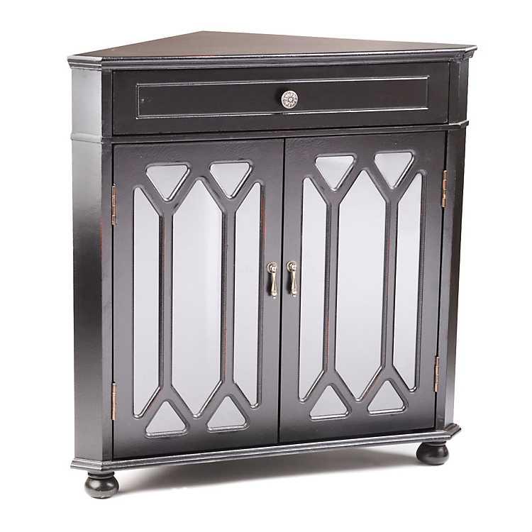 Black Cathedral Door Corner Cabinet