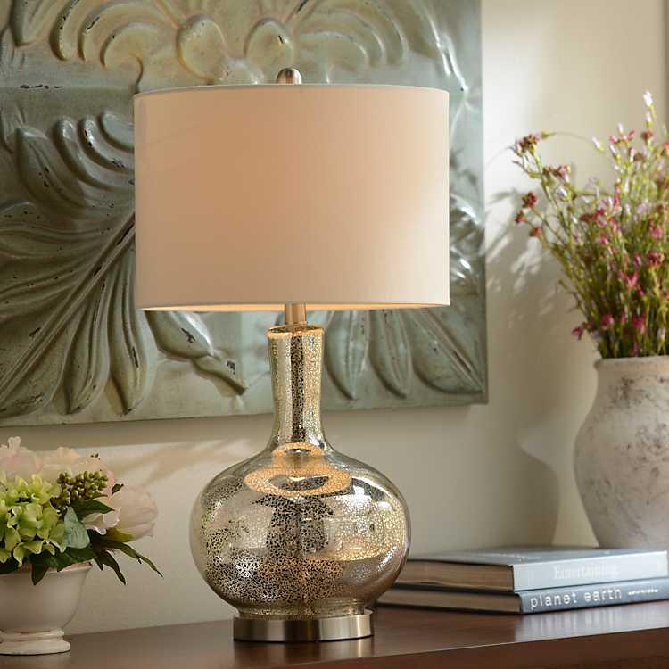 Dynia Silver Mercury Glass Table Lamp