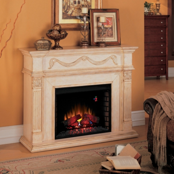 The classic Gossamer Ivory Electric Fireplace features fine details like beaded molding complimented by the soft glow of a 28