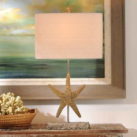 cottage from scallop linen shade iron shell enchanted and finial starfish white wood mermaid lamp handmade lampshade table carved conch with shop