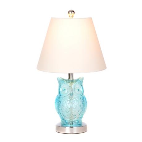 Blue glass owl table lamp kirklands aloadofball Choice Image
