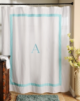 Aqua Monogram Shower Curtain At Kirklands