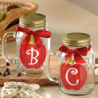 apple for teacher monogram mason jar mug at kirklands