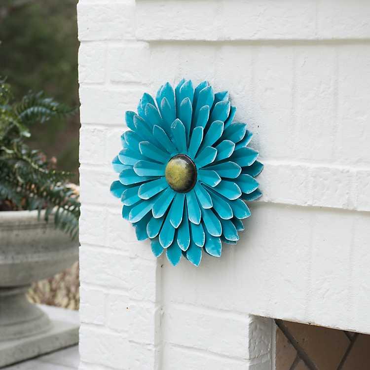 Blue Metal Flower Wall Plaque