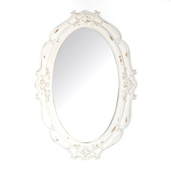 Vintage White Oval Decorative Mirror | Kirklands
