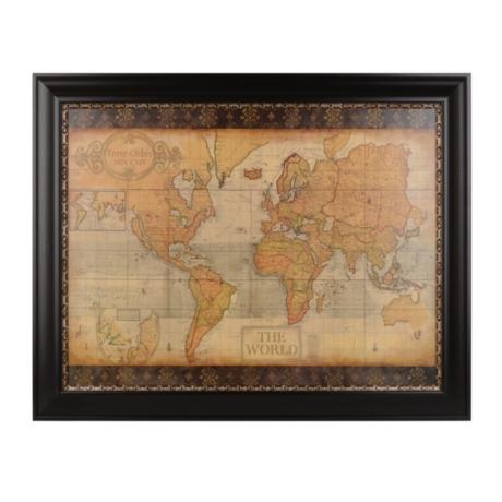 Ornate old world map framed art print kirklands gumiabroncs Choice Image