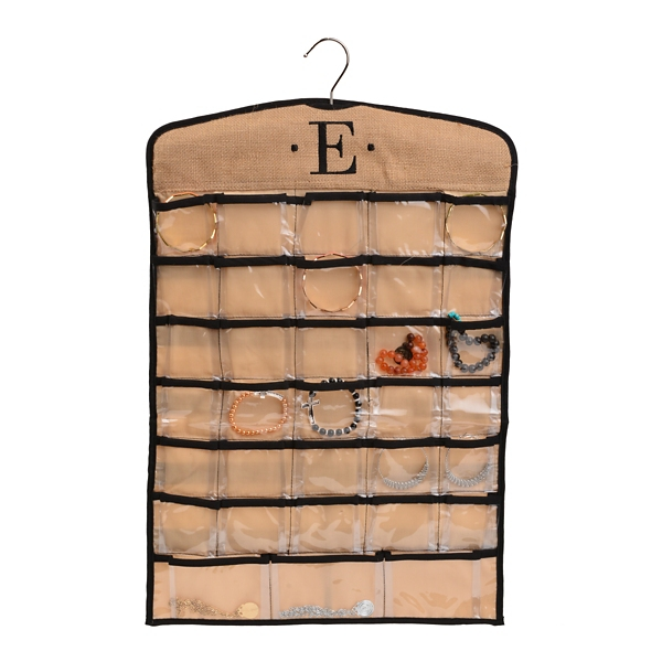 Black Tan Monogram E Hanging Jewelry Organizer Kirklands