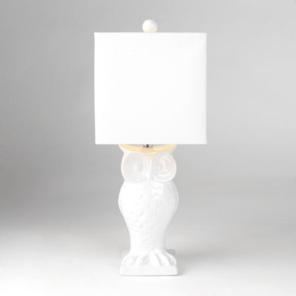 White ceramic owl table lamp kirklands aloadofball Gallery