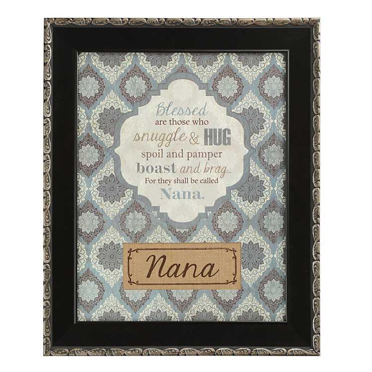 Product Details Burlap & Floral Print Nana Wall Plaque
