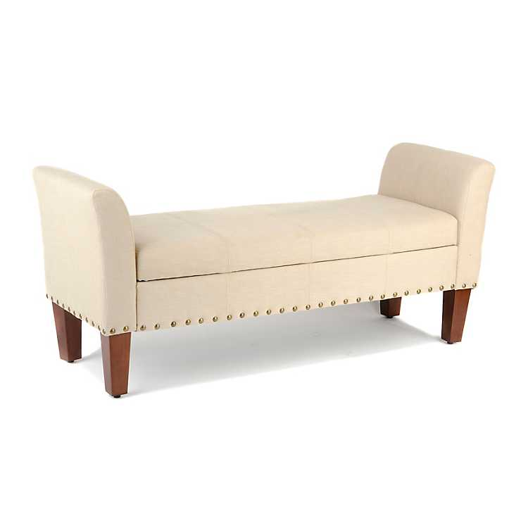 Stupendous Ivory Linen Storage Bench Caraccident5 Cool Chair Designs And Ideas Caraccident5Info