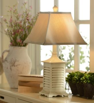 Whitewashed shutter table lamp kirklands aloadofball Image collections