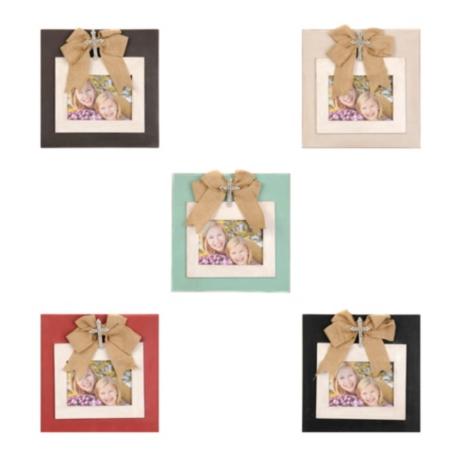 Burlap Bow & Jeweled Cross Picture Frames | Kirklands