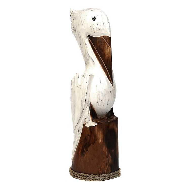 Product Details Carved Wood Pelican Statue