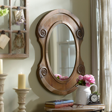 Rustic Natural Oval Framed Mirror 25x36 In