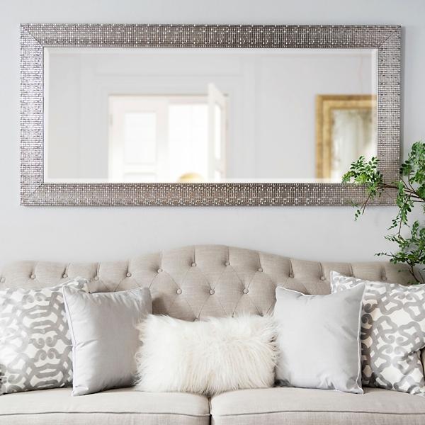 Metallic Silver Block Framed Mirror, 31.5x65.5 In.