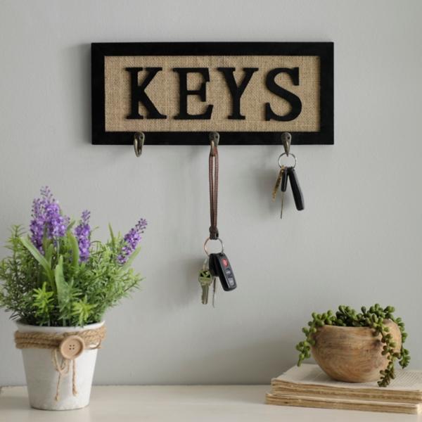 Burlap Keys Hooks
