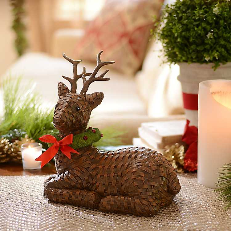 Product Details. Faux Wicker Reindeer Statue