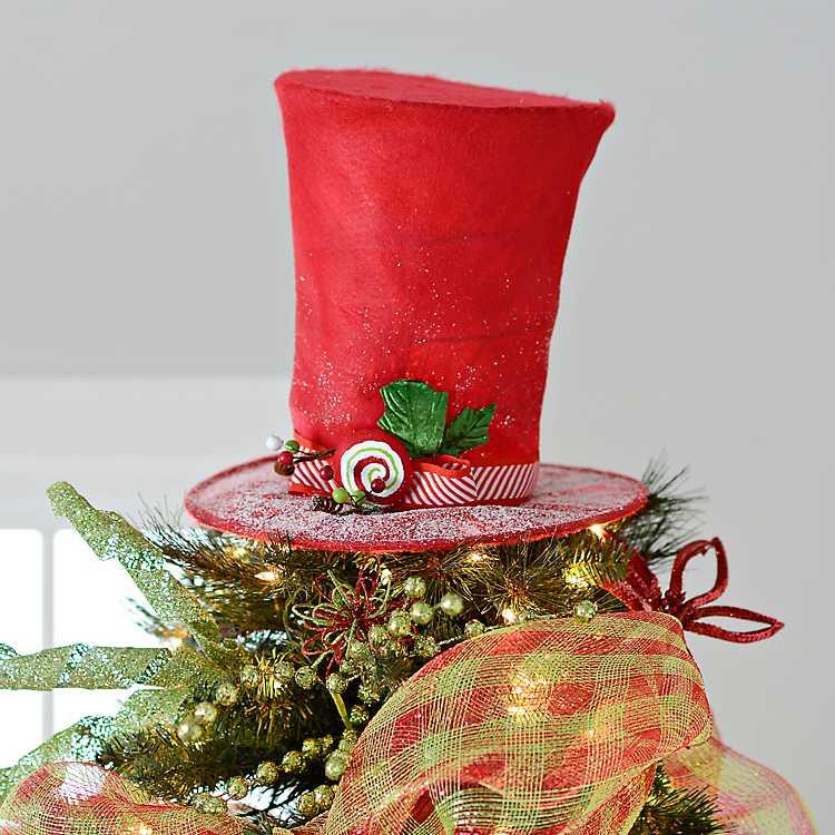 6a264ea2 Peppermint Swirl Top Hat Tree Topper | Kirklands