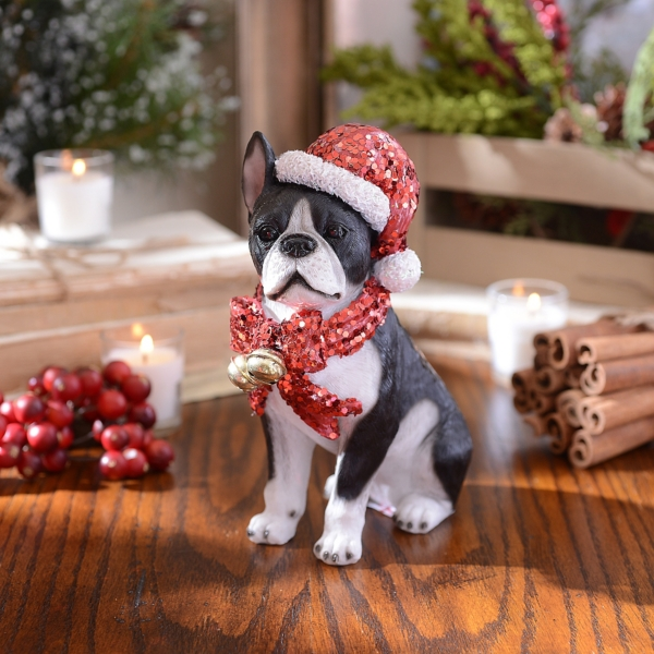 christmas paws boston terrier statue kirklands - Boston Terrier Outdoor Christmas Decoration